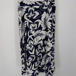 New Talbots Size Large Petite Maxi Skirt Blue Whit
